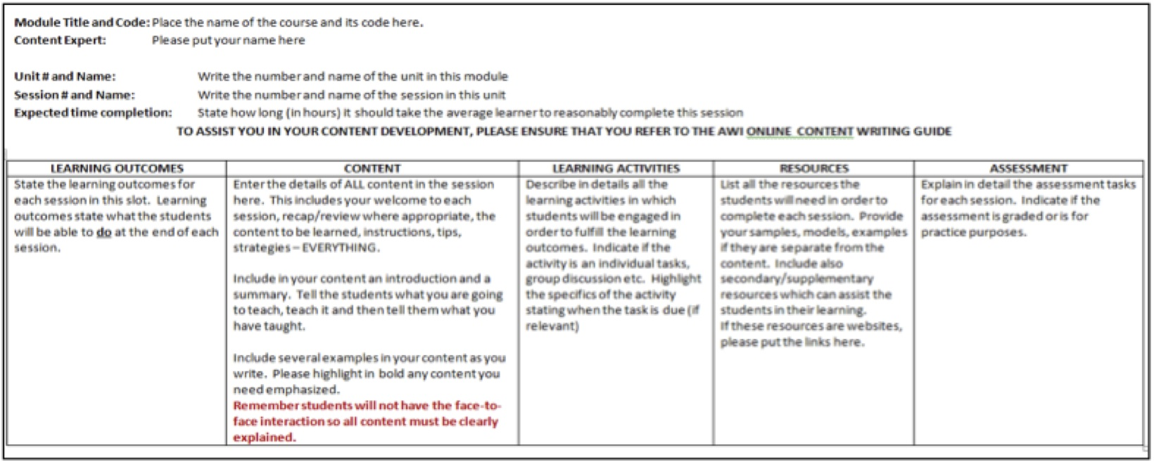 Beautifying the beast customising online instruction in for Training module template
